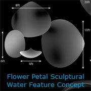 H2Oarts concept- Articulated Flower Petal Scupture Water Feature